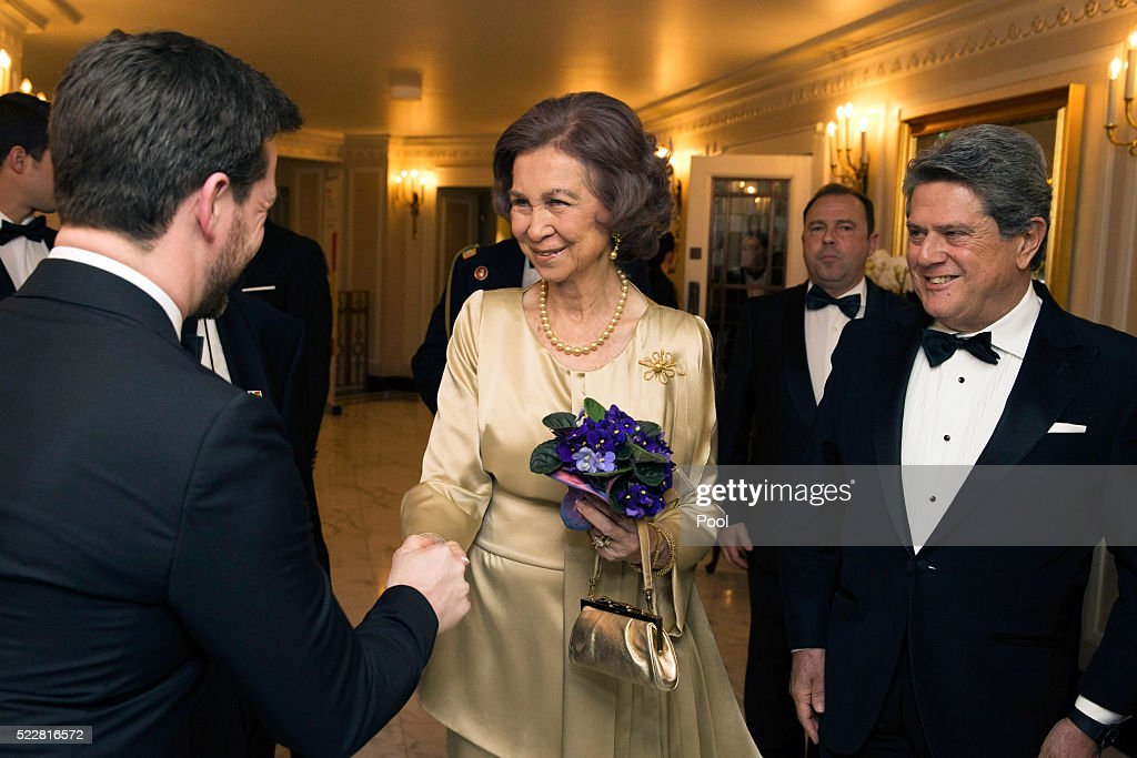 Queen Sofia and Ambassador of Spain in the UK, Ferederico Trillo arrive at a gala commemorating the centenary of the British - Spanish Society, at the Dorchester Hotel, on April 20, 2016 in London, England.