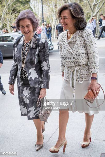Queen Sofia and Ana Patricia Botin arrive to a meeting at 'Escuela Superior De Musica Reina Sofia' on April 22 2018 in Madrid Spain