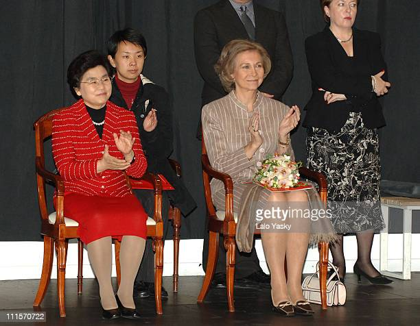 Queen Sofia and Chinese Presidents Wife Liu Yongqing Attend a Special Rehearsal of the Spanish National Ballet at the BalletIes Headquarters in Madrid