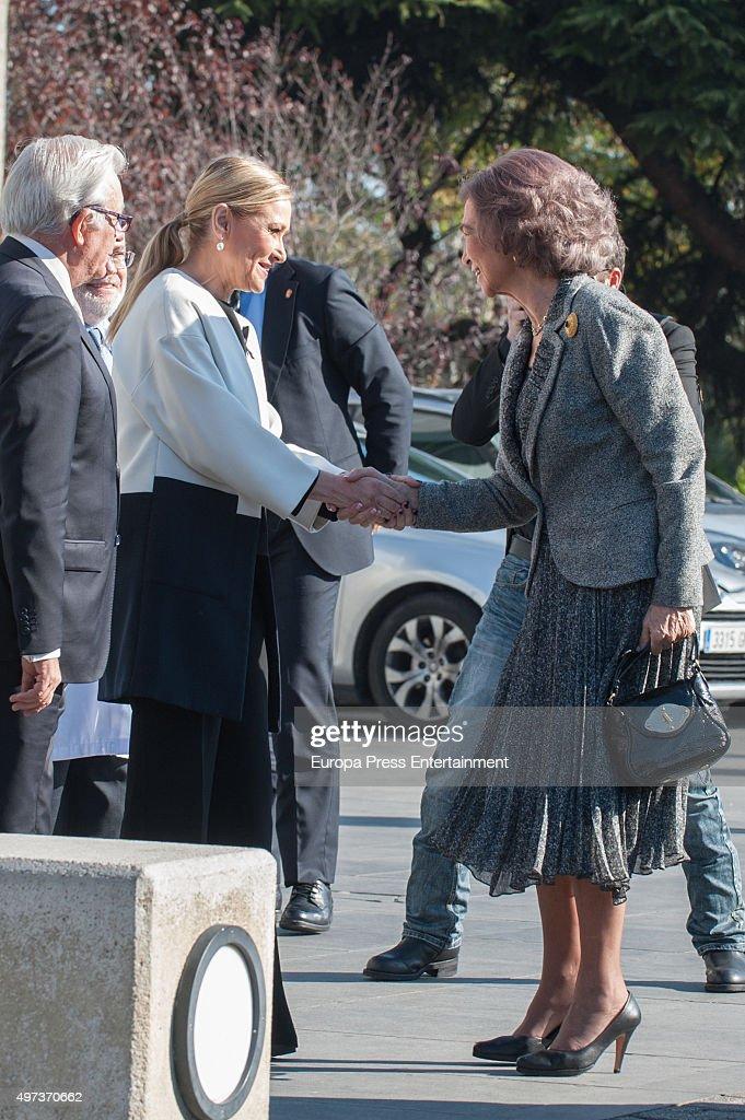 Queen Sofia (R) and Cristina Cifuentes (2L) attend 'La Paz' Hospital 50th Anniversary' on November 16, 2015 in Madrid, Spain.