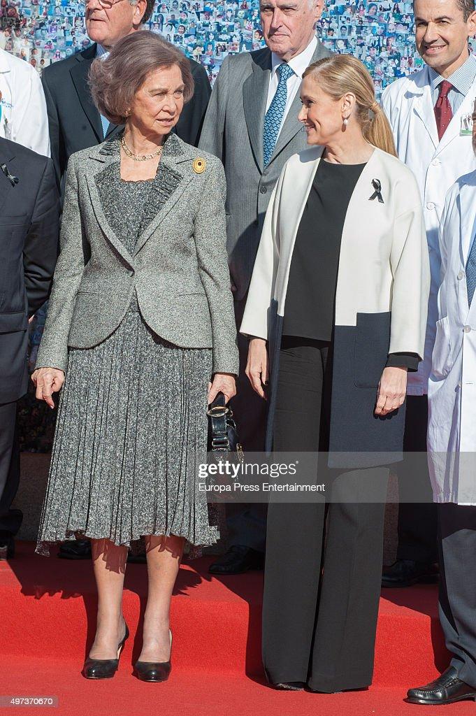 Queen Sofia (L) and Cristina Cifuentes (R) attend 'La Paz' Hospital 50th Anniversary' on November 16, 2015 in Madrid, Spain.