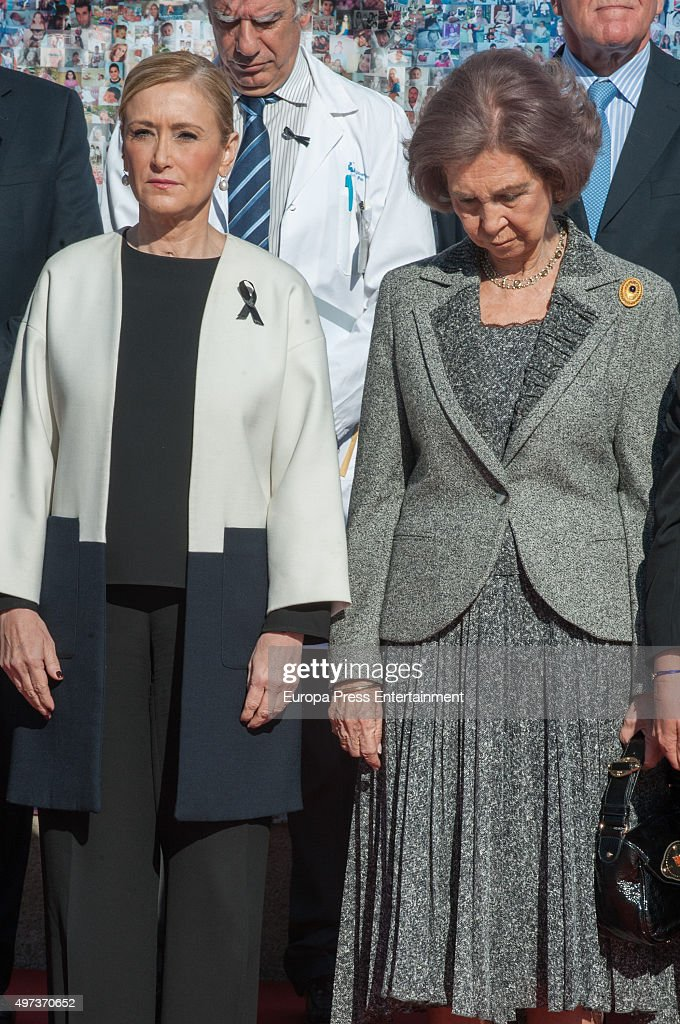 Queen Sofia (2L) and Cristina Cifuentes (L) observe a minute silence's for Paris victims during 'La Paz' Hospital 50th Anniversary' on November 16, 2015 in Madrid, Spain.