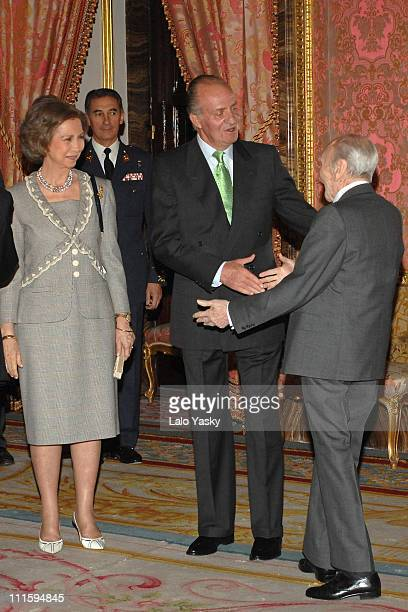 TRH Queen Sofia and King Juan Carlos and writer Francisco Ayala
