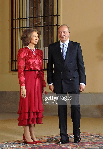 Queen Sofia and King Juan Carlos arrive at King Juan Carlos' 70th birthday dinner on January 9 2007 in Madrid Spain