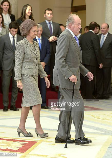 Queen Sofia and King Juan Carlos attend the 2014 National Sports Awards Ceremony at El Pardo Palace on November 17 2015 in Madrid Spain