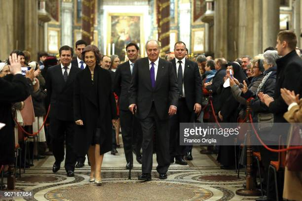 Queen Sofia and King Juan Carlos attend the inauguration of the new lighting of the papal Basilica of St Mary Major on January 19 2018 in Vatican...