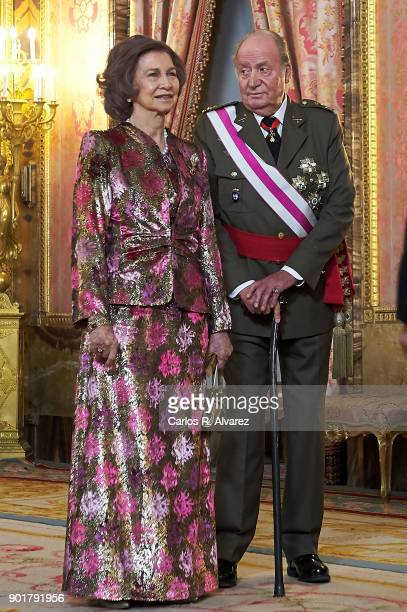 Queen Sofia and King Juan Carlos attend the Pascua Militar ceremony at the Royal Palace on January 6 2018 in Madrid Spain