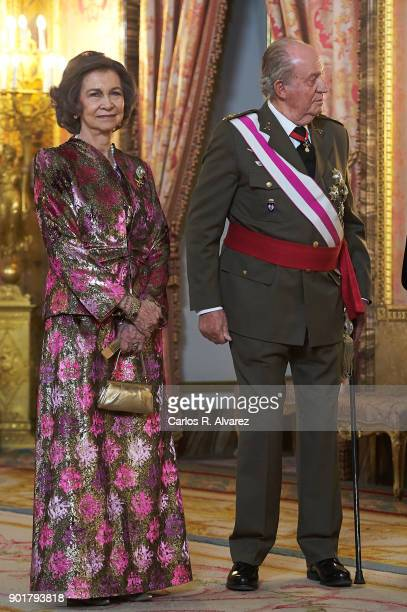 Queen Sofia and King Juan Carlos attend the Pascua Militar ceremony at the Royal Palace on January 6, 2018 in Madrid, Spain.