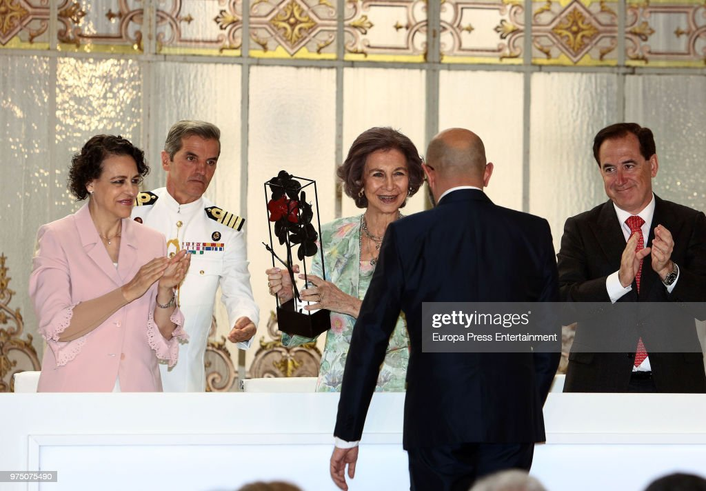 Queen Sofia (3L) and Magdalena Valerio (L) attend attend Mapfre Foundation Awards 2017 at Casino de Madrid on June 14, 2018 in Madrid, Spain.