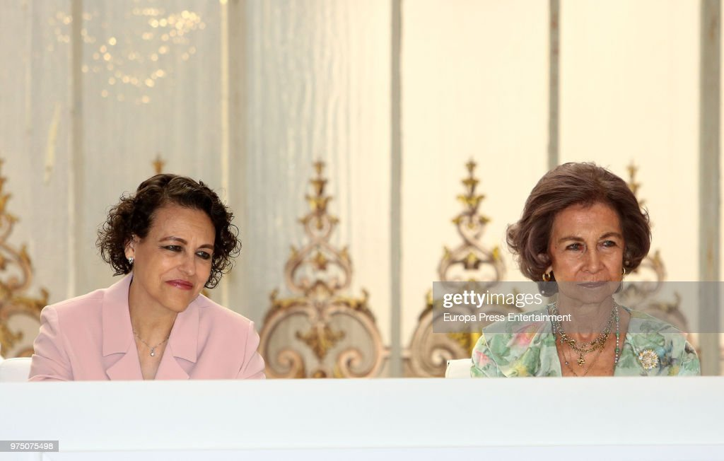 Queen Sofia (R) and Magdalena Valerio (L) attend Mapfre Foundation Awards 2017 at Casino de Madrid on June 14, 2018 in Madrid, Spain.