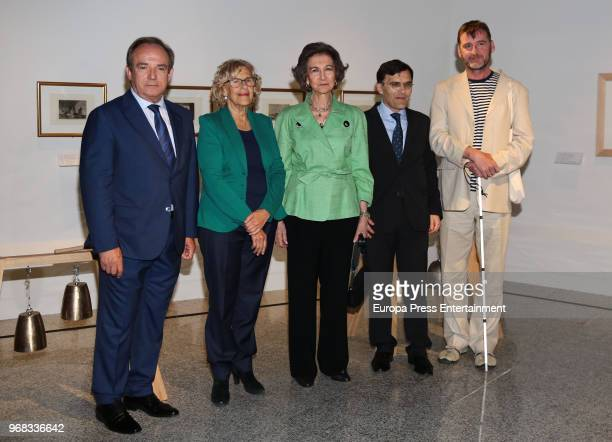 Queen Sofia and major of Madrid Manuela Carmena attend 'Fundacion ONCE' Contemporary Art Biennale exhibition at Cibeles Palace on June 5 2018 in...