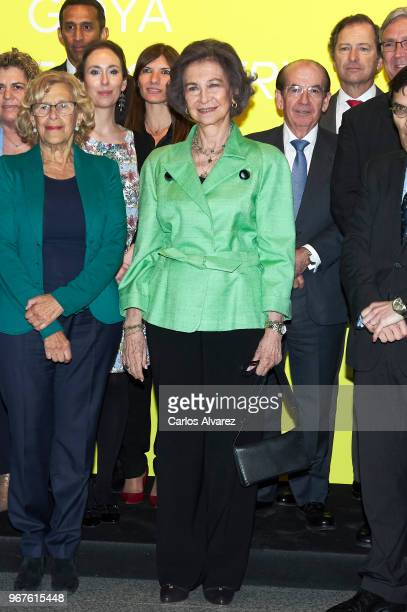 Queen Sofia and Mayor of Madrid Manuela Carmena attend 'Fundacion ONCE' Contemporary Art Biennale exhibition at Cibeles Palace on June 5 2018 in...