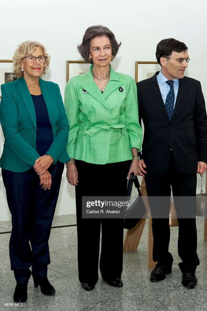 Queen Sofia (R) and Mayor of Madrid Manuela Carmena (L) attend 'Fundacion ONCE' Contemporary Art Biennale exhibition at Cibeles Palace on June 5, 2018 in Madrid, Spain.