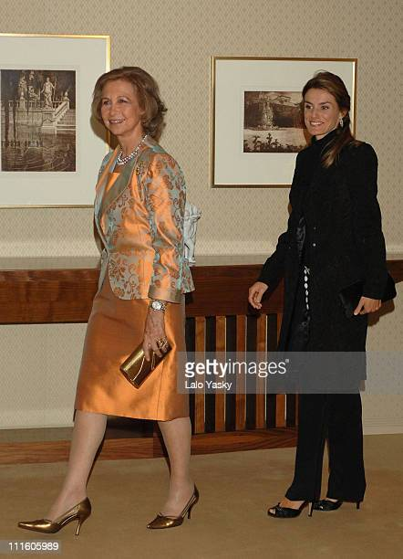 Queen Sofia and Pprincess Letizia during Spanish Royal Family Preside Concert to Benefit Alzheimer's Project September 21 2006 in Madrid Spain