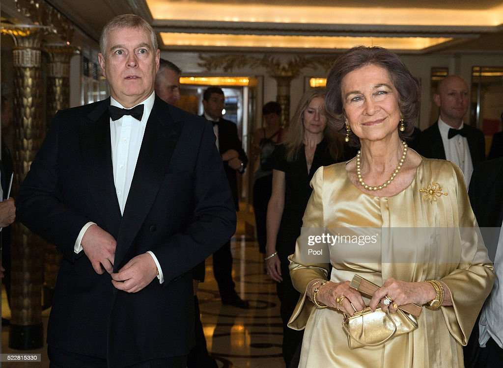 Queen Sofia and Prince Andrew, Duke of York arrive at a gala commemorating the centenary of the British - Spanish Society, at the Dorchester Hotel, on April 20, 2016 in London, England.