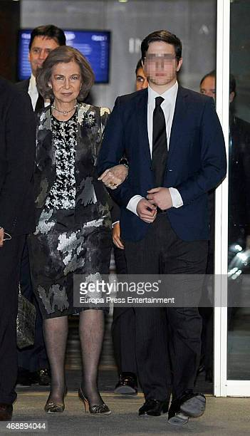 Queen Sofia and Prince Boris Tumovski attend the funeral chapel for Prince Kardam of Bulgaria on April 7, 2015 in Madrid, Spain.