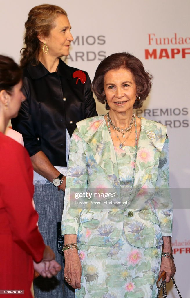 Queen Sofia (R) and Princess Elena (L) attend Mapfre Foundation Awards 2017 at Casino de Madrid on June 14, 2018 in Madrid, Spain.
