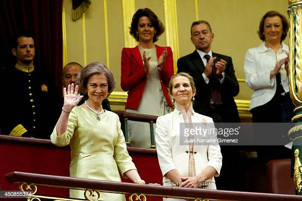 Queen Sofia and Princess Elena attends the inauguration of King Felipe VI at the Parliament on June 19 2014 in Madrid Spain The coronation of King...