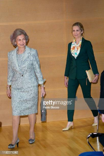 Queen Sofia and Princess Elena of Spain attend the delivery of scholarships to investigate alzheimer at 'Reina Sofia Foundation' headquarters on...