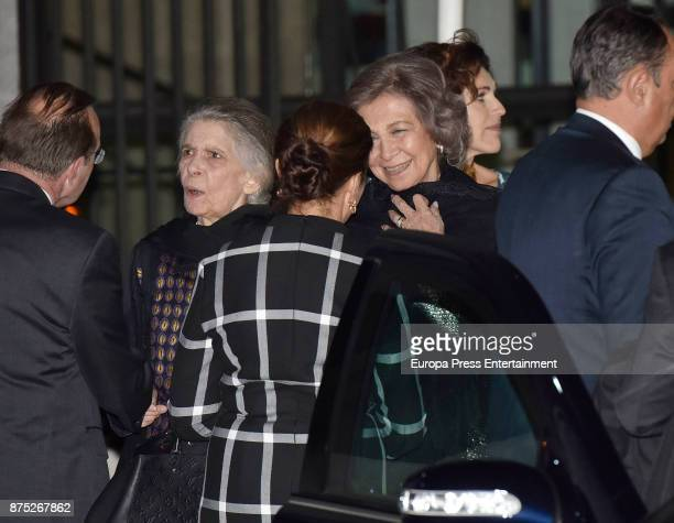 Queen Sofia and Princess Irene of Greece attend the 32nd edition of BMW Painting Award at the Royal Theatre on November 16 2017 in Madrid Spain