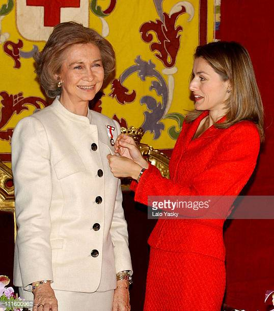 Queen Sofia and Princess Letizia during Red Cross Fundraising Campaign 2004 Launch at Spanish Parliament in Madrid Spain