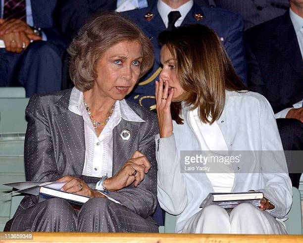 Queen Sofia and Princess Letizia during Spanish Royals Attend 'Me Olvide de Vivir' Gala in Favor of the Queen Sofia Foundation at Vista Alegre Palace...