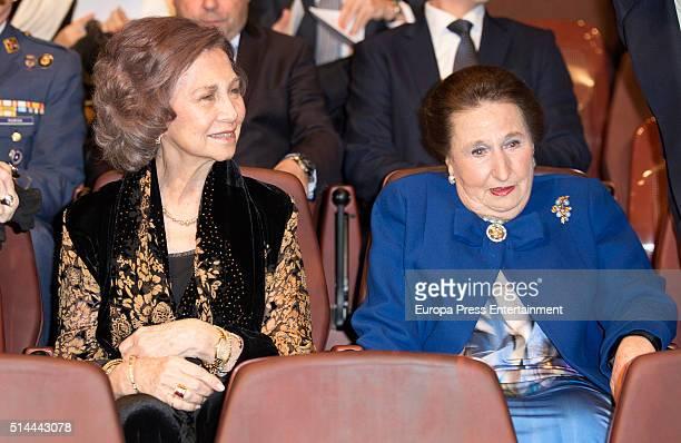 Queen Sofia and Princess Margarita attend 'Circulo Internacional Escuela Superior Musica Reina Sofia' meeting on March 8 2016 in Madrid Spain