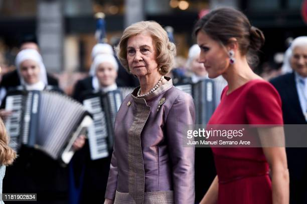 Queen Sofia and Queen Letizia of Spain arrive to the Campoamor Theatre ahead of the 'Princesa de Asturias' Awards Ceremony 2019 on October 18 2019 in...