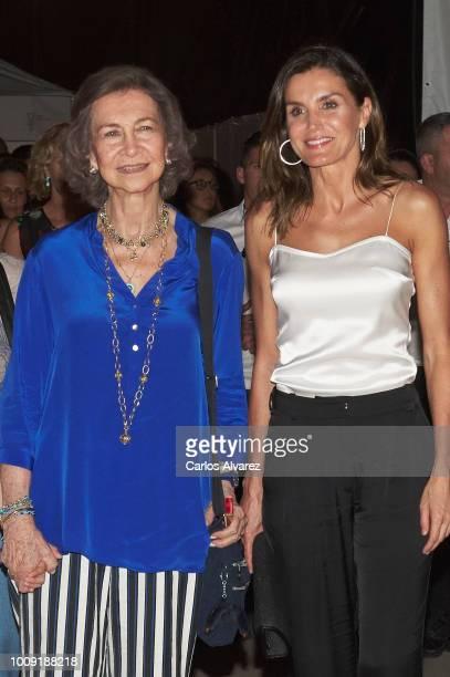Queen Sofia and Queen Letizia of Spain attend Ara Malikian concert at Port Adriano on August 1 2018 in Palma de Mallorca Spain
