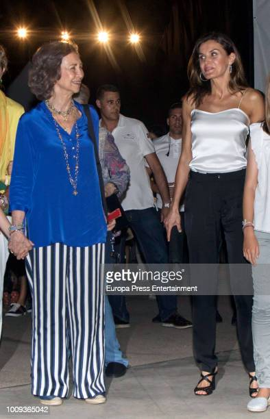 Queen Sofia and Queen Letizia of Spain attend Ara Malikian's concert at Port Adriano on August 1 2018 in Palma de Mallorca Spain
