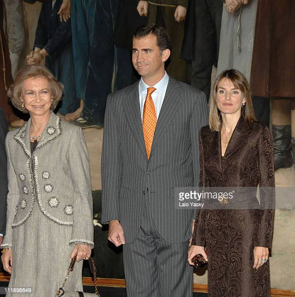 HM Queen Sofia and TRH Prince Felipe and Princess Letizia pose for photographers during the opening of Museo del Prado new areas on October 30 2007...