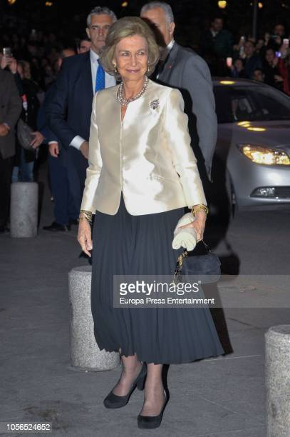 Queen Sofia arrive to attends a concert to celebrate her 80th birthday at Escuela Superior de Musica Reina Sofia on November 2 2018 in Madrid Spain