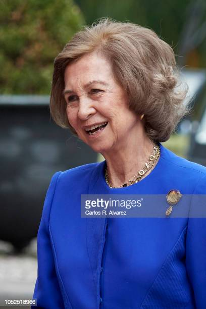 Queen Sofia arrives at the Reconquista Hotel during the 'Princesa De Asturias' awards 2018 on October 19 2018 in Oviedo Spain