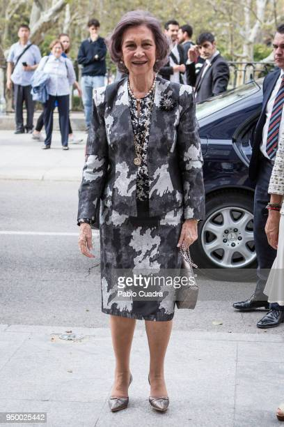 Queen Sofia arrives to a meeting at 'Escuela Superior De Musica Reina Sofia' on April 22 2018 in Madrid Spain