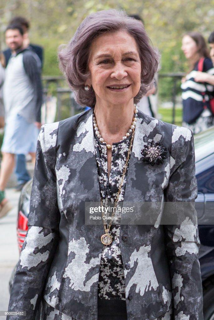 Queen Sofia Arrives To A Meeting At 'Escuela Superior De Musica Reina Sofia' in Madrid