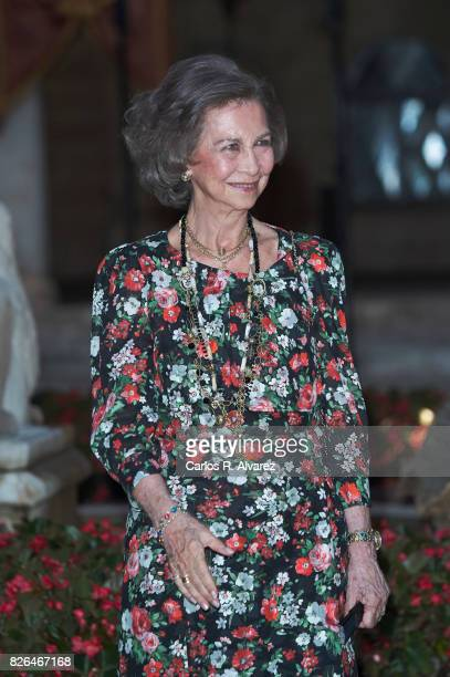 Queen Sofia attends a dinner for authorities at the Almudaina Palace on August 4 2017 in Palma de Mallorca Spain