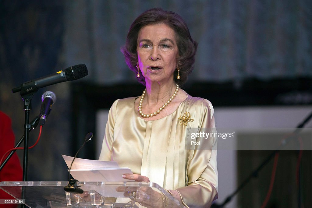 Queen Sofia attends a gala commemorating the centenary of the British - Spanish Society, at the Dorchester Hotel, on April 20, 2016 in London, England.