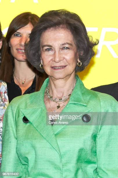 Queen Sofia attends 'Fundacion ONCE' Contemporary Art Biennale exhibition at Cibeles Palace on June 5 2018 in Madrid Spain