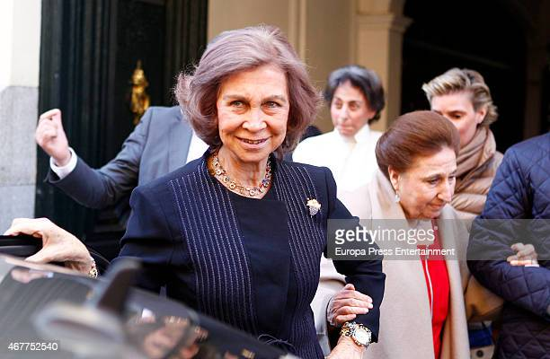 Queen Sofia attends Princess Margarita's 76th birthday on March 06 2015 in Madrid Spain