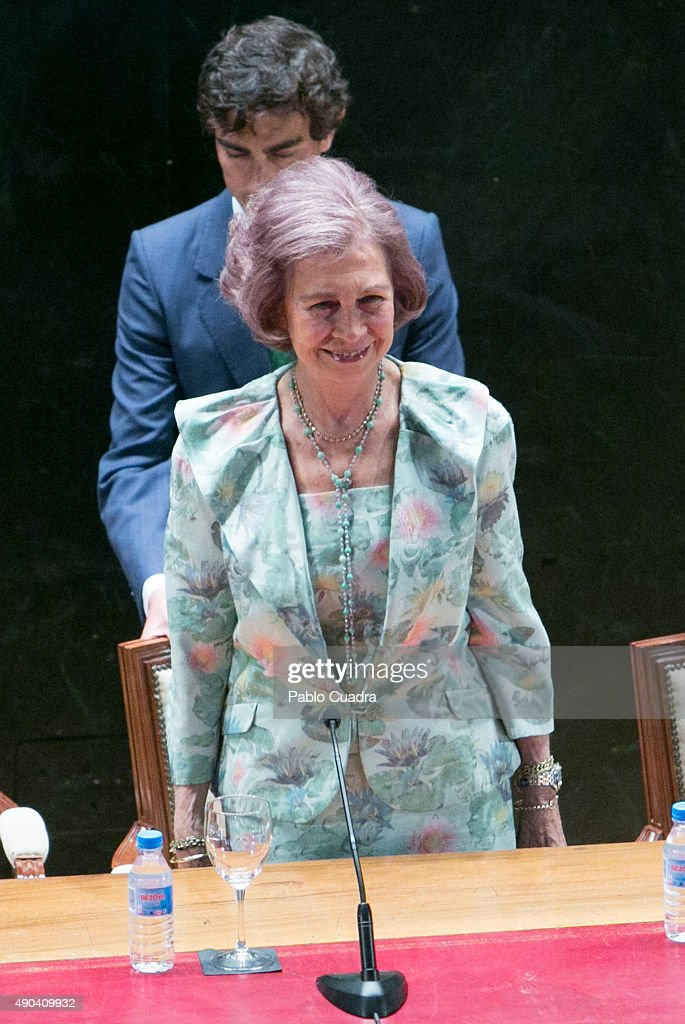Queen Sofia attends the '2015 Human Brain Project (HBP) Annual Summit' on September 28, 2015 in Madrid, Spain.