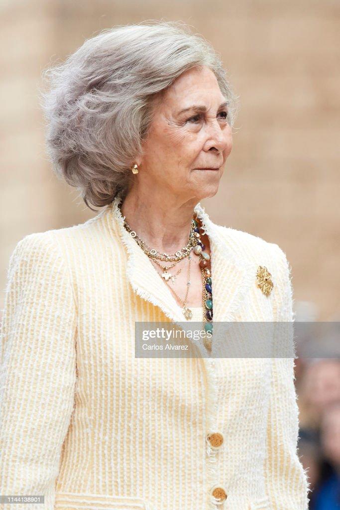 Spanish Royals Attend Easter Mass In Palma De Mallorca : News Photo