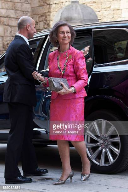Queen Sofia attends the Easter Mass at the Cathedral of Palma de Mallorca on April 16, 2017 in Palma de Mallorca, Spain.
