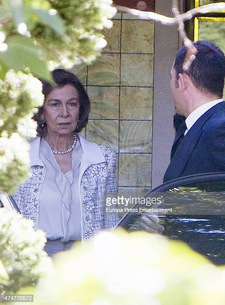 Queen Sofia attends the First Communion of Luis and Laura GomezAcebo on May 23 2015 in Madrid Spain