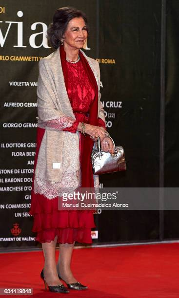 Queen Sofia attends the 'La Traviata' Premiere at Palau de Les Arts Reina Sofia on February 9 2017 in Valencia Spain