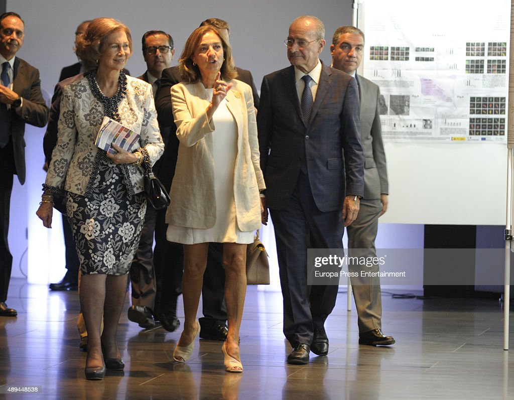 Queen Sofia (L) attends the opening of the III International Congress on Research and Innovation In Neurodegenerative Diseases on September 21, 2015 in Malaga, Spain.