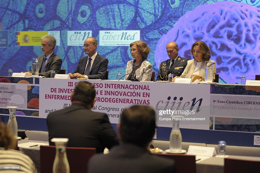 Queen Sofia (3R) attends the opening of the III International Congress on Research and Innovation In Neurodegenerative Diseases on September 21, 2015 in Malaga, Spain.