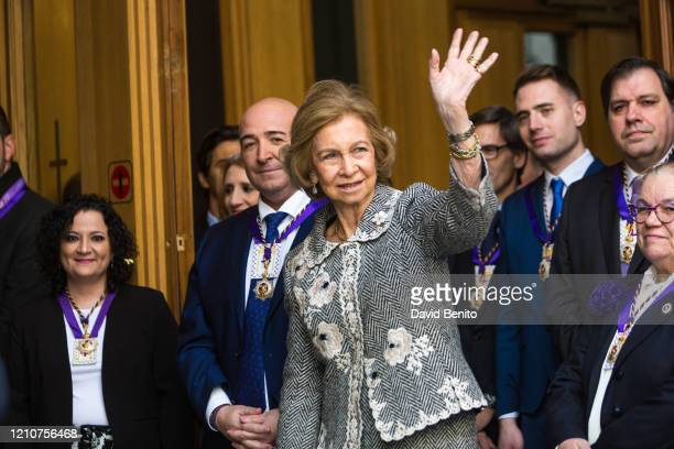 Queen Sofia attends the tradicional thanksgiving to Medinaceli on March 06, 2020 in Madrid, Spain. On the first Friday of March there is a tradition...