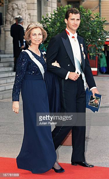 Queen Sofia Crown Prince Felipe Of Spain Attends A Performance Of The Dramatic Theatre During The Celebration For King Carl Gustav Of Sweden'S 50Th...