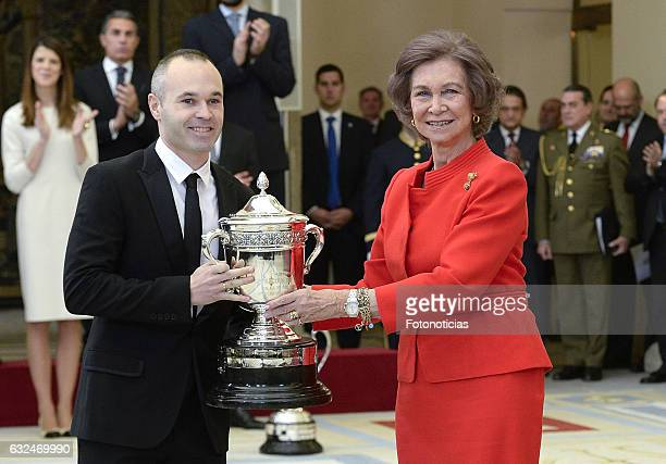 Queen Sofia delivers a National Sports Awards to FC Barcelona player Andres Iniesta at El Pardo Palace on January 23, 2017 in Madrid, Spain.