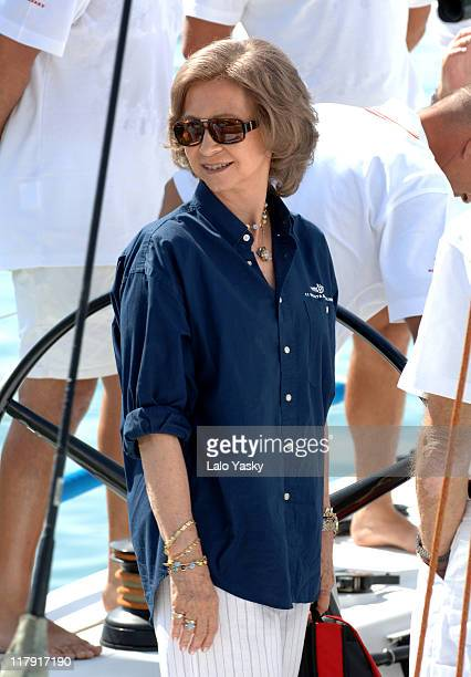 Queen Sofia during King Juan Carlos and Queen Sofia Sighting in Mallorca at Puerto Portals in Mallorca Balearic Islands Spain